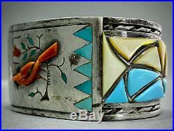 HUGE RARE Vintage Navajo Sterling Silver Multi Stone Inlay Cuff Bracelet