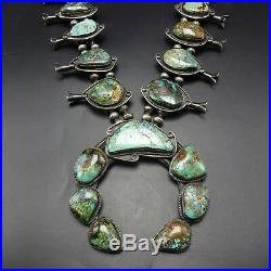 HUGE Vintage NAVAJO Sterling & NATURAL Turquoise SQUASH BLOSSOM Necklace 445g