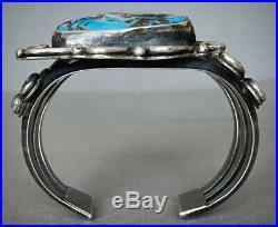 HUGE Vintage Navajo Sterling Silver Kingman Turquoise Cuff Bracelet 100 Grams