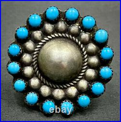 HUGE Vintage Navajo Sterling Silver Sleeping Beauty Turquoise Cluster Dome Ring