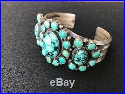 Heavy Dean Brown navajo turquoise cluster cuff bracelet sterling