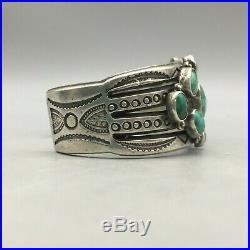 Heavy, Handmade, Vintage Turquoise Cluster Bracelet