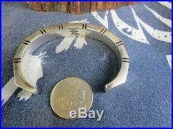 Heavy Vintage Signed Navajo Sterling Silver Cuff Bracelet Nusie Belon L2