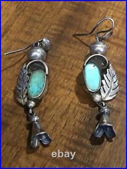 Heavy Vintage Sterling Silver Navajo Squash Blossom Necklace Set- 212g