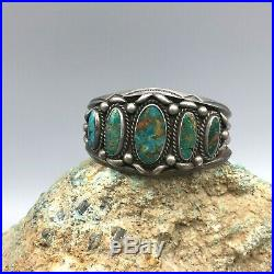 Hefty! Vintage! Turquoise and Sterling Silver Cuff Bracelet Nice Old Turquoise