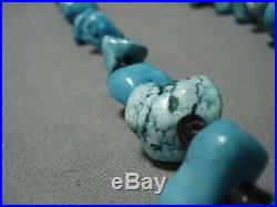 Huge Chunky Vintage Navajo Turquoise Heishi Sterling Silver Necklace Old