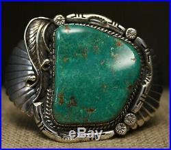 Huge Native American Navajo Turquoise Sterling Silver Cuff Bracelet