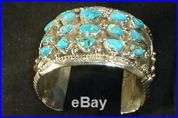 Huge Navajo Sterling Silver Blue Turquoise Bracelet Native American Dead Pawn 2