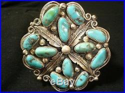 Huge Navajo Sterling Silver Turquoise Cluster Bracelet Native American Dead Pawn