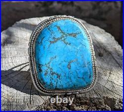 Huge Navajo Turquoise Bracelet Sterling Silver Native American Jewelry