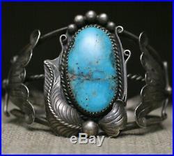 Huge Vintage Native American Navajo Turquoise Sterling Silver Cuff Bracelet