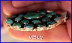 Huge Vintage Navajo Sterling Silver & Nevada Turquoise Stones Cluster Pendant