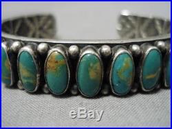 Important Vintage Navajo Kirk Smith Turquoise Sterling Silver Bracelet Old