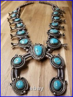 Incredible Vintage Navajo Turquoise Sterling Silver Squash Blossom Necklace Old