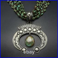 KEWA and NAVAJO 10-Strand TURQUOISE NECKLACE with Sterling Silver NAJA PENDANT