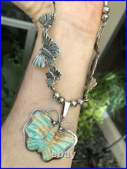 Killer Old Pawn Navajo Sterling Silver Turquoise Butterfly Moth Pendant Necklace