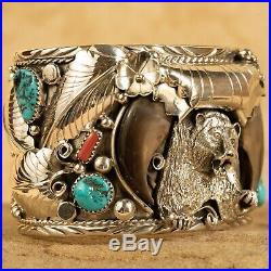 LARGE Navajo Sterling Silver Faux Bear Claw Turquoise Coral Cuff Bracelet By ES