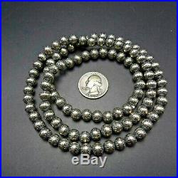 LONG Vintage NAVAJO Stamped Sterling Silver NAVAJO PEARLS 30 Strand NECKLACE