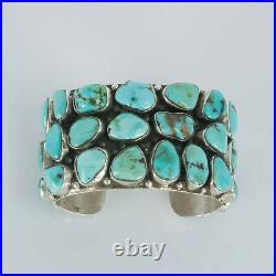 Large Navajo Sterling Silver Chunky Turquoise Cuff Bracelet Signed S 142g