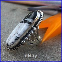 Large White Buffalo Turquoise Sterling Ring Southwestern Jewelry Indian Ring