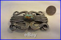 Lg. HARRY MORGAN Navajo BELT BUCKLE withNatural TURQUOISE STAMPED Sterling Silver