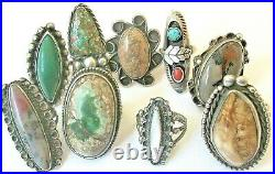 Lot of 9 Old Pawn Sterling Turquoise Petrified Wood Agate Mexican Navajo Rings