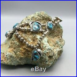 Lovely! A Vintage Turquoise Cabochon and Silver Bead Necklace