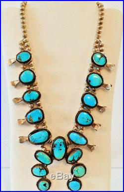 Lovely Large NATIVE AMERICAN Squash Blossom NECKLACE Turquoise Sterling Silver