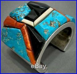 MASSIVE Navajo Sterling Silver Turquoise Cobblestone Cuff Bracelet 200 Grams WOW