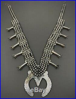 MASSIVE Vintage Ceremonial Navajo Silver Turquoise Squash Blossom Necklace 600g