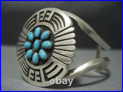 Magnificent Vintage Navajo Turquoise Sterling Silver Bracelet Old