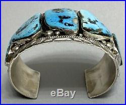 Massive Navajo Sterling Silver Kingman Turquoise Cuff Bracelet Large Wrist 8
