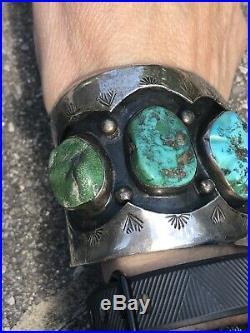 Massive Old Navajo Bisbee Turquoise Sterling Silver Cuff Bracelet 122 Gr Signed
