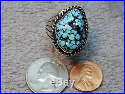 Mens Black Spiderweb Turquoise Ring Navajo Charles Charley Size 10 1/2