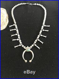 Mens Navajo Pearl Turquoise Sterling Silver Squash Blossom Necklace NAJA