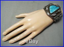 Museum Vintage Navajo Old Morenci Turquoise Sterling Silver Bracelet Old