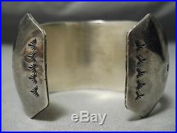 Museum Vintage Navajo Turquoise Coral Inlay Sterling Silver Bracelet Old