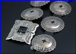 NATIVE AMERICAN NAVAJO HANDMADE STERLING SILVER CONCHO BELT by FRED THOMPSON
