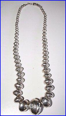 NAVAJO LY YAZZIE Sterling 925 Necklace Stamped Saucer Bench Beads 84g 23 Large