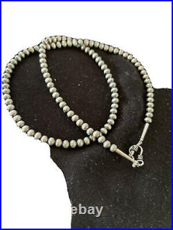 NWOT Native American Navajo Pearls 5mm Sterling Silver Bead Necklace 21 Sale