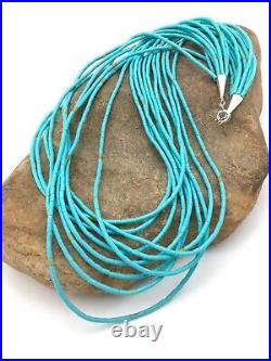 Native American Blue Turquoise Heishi 10St Sterling Silver Necklace 20 4199