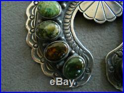 Native American Green Turquoise Cluster Sterling Silver Naja Pendant ROBERT BIRD