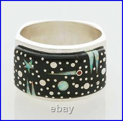Native American Handmade Sterling Silver with Night Sky Inlay Ring Size 10