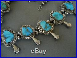 Native American Indian Turquoise Sterling Silver Squash Blossom Bead Necklace
