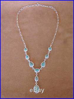 Native American Jewelry Turquoise Sterling Silver Necklace by Mark Barney