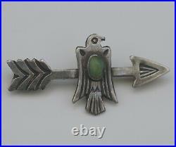 Native American Navajo Arrow And Thunderbird Sterling Pin Brooch Antique
