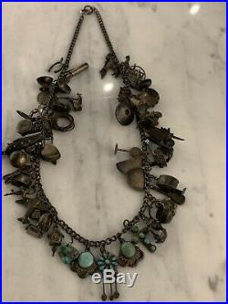 Native American Navajo Charm Necklace 1940s Sterling Turquoise Pawn Silver Fobs
