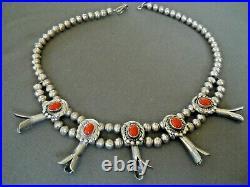 Native American Navajo Coral Sterling Silver Squash Blossom Bead Necklace