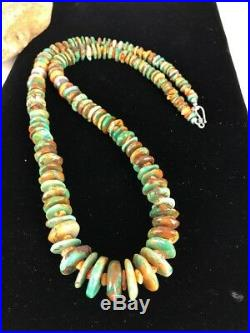 Native American Navajo Green Turquoise Sterling Silver Spiny Necklace 28 1333