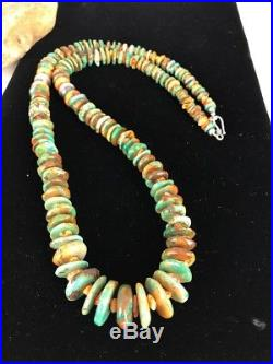 Native American Navajo Green Turquoise Sterling Silver Spiny Necklace 32 Rare